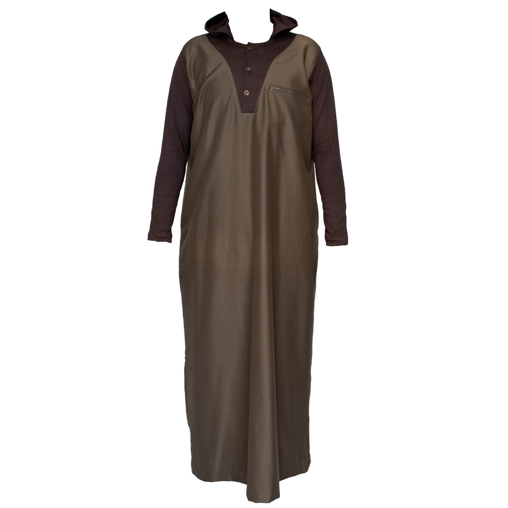 V-Neck Hooded Islamic Jubbah - Brown