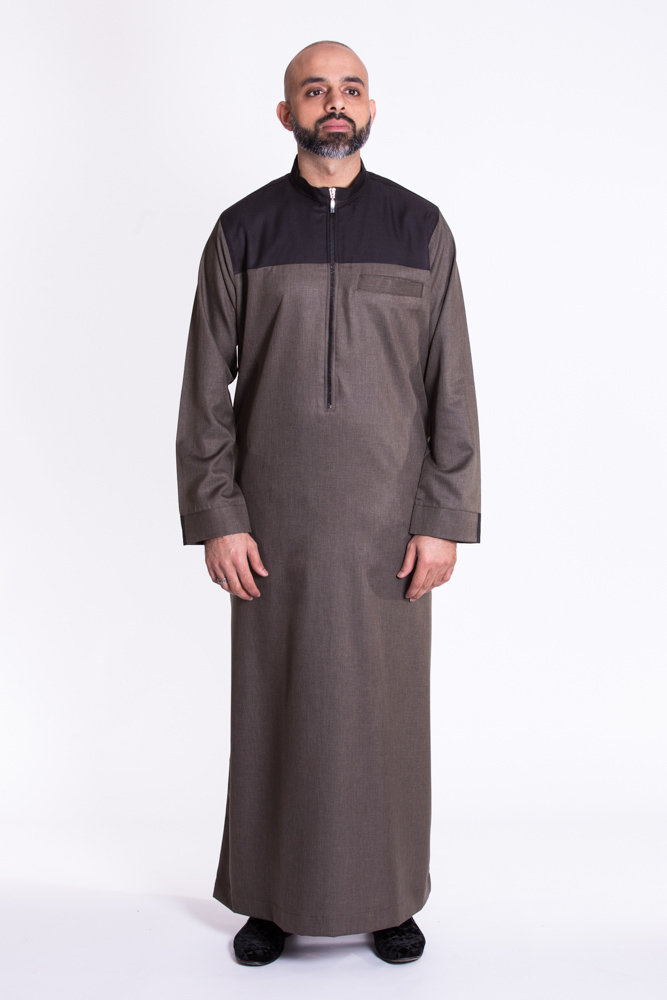 Kandura Black, Brown Collar Jubba