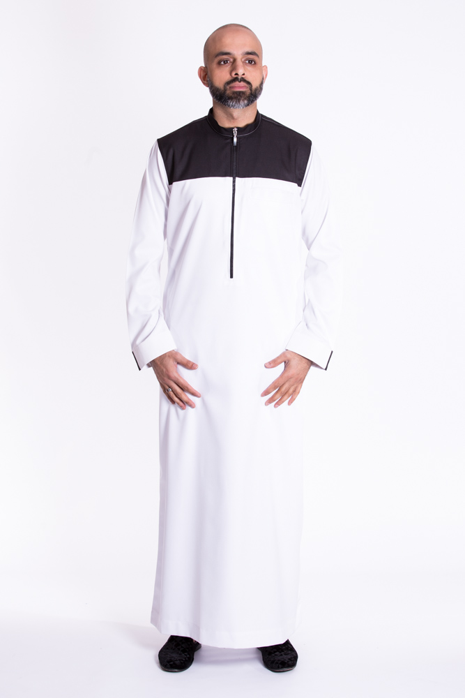 Kandura Black, White Collar Jubba