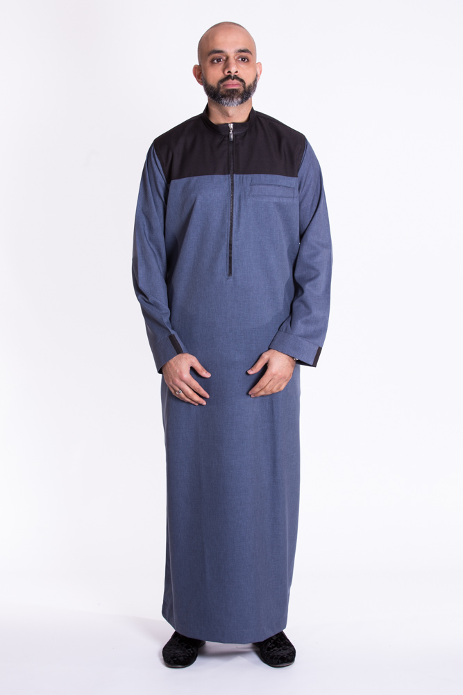 Kandura Black Denim Collar Jubba