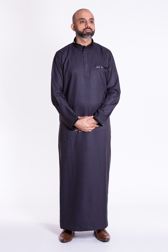 Brown Leather Navy Jubba (just In)
