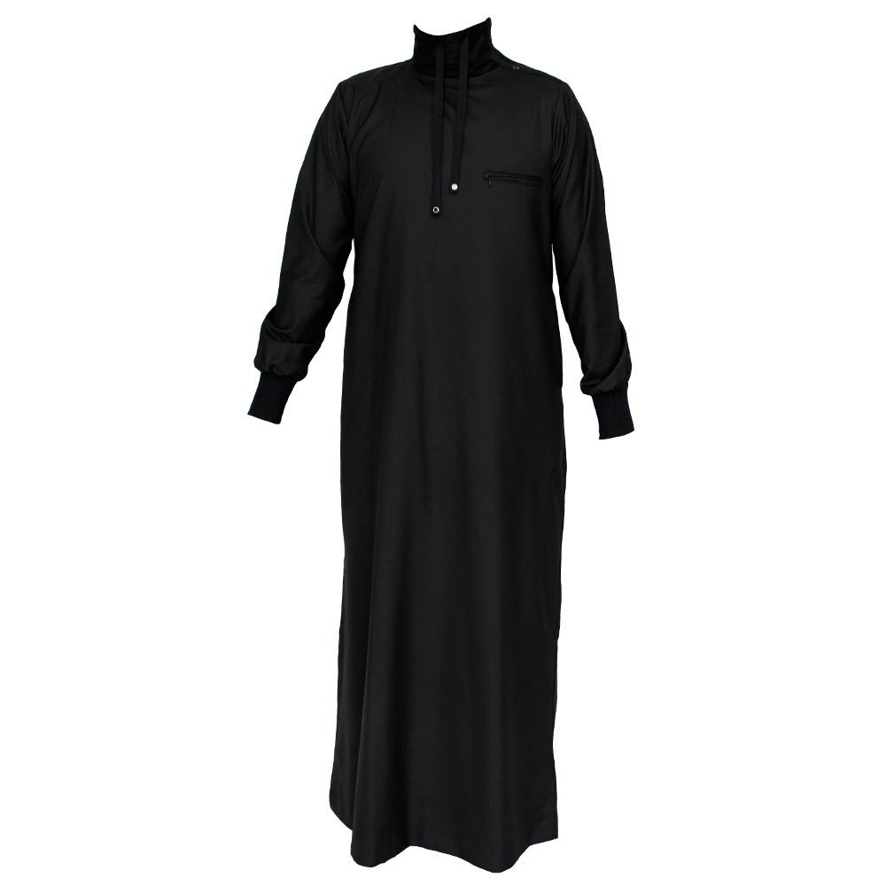 Polo Neck Jubbah / Thobe - Black
