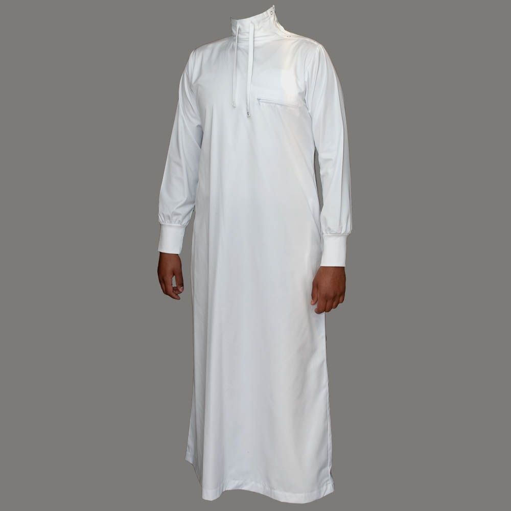 Polo neck jubbah thobe white 163 34 99
