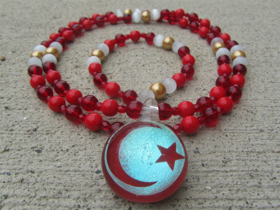Red Crescent Moon Pendant