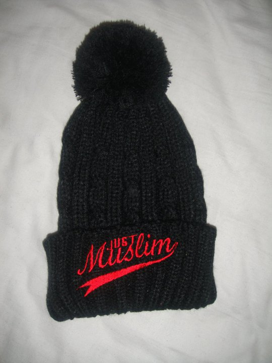 Just Muslim Classic Black & Red Bobble Hat