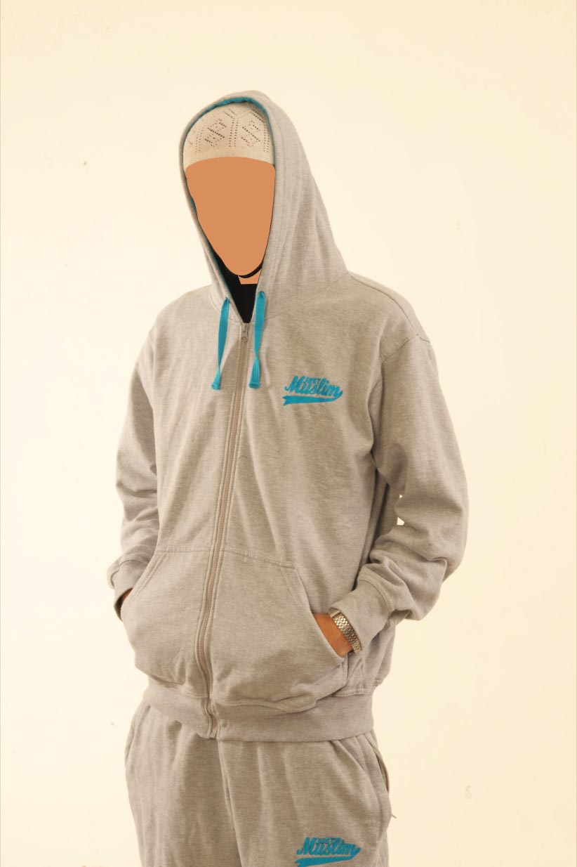 Light Grey & Blue Hooded Flock Tracksuit