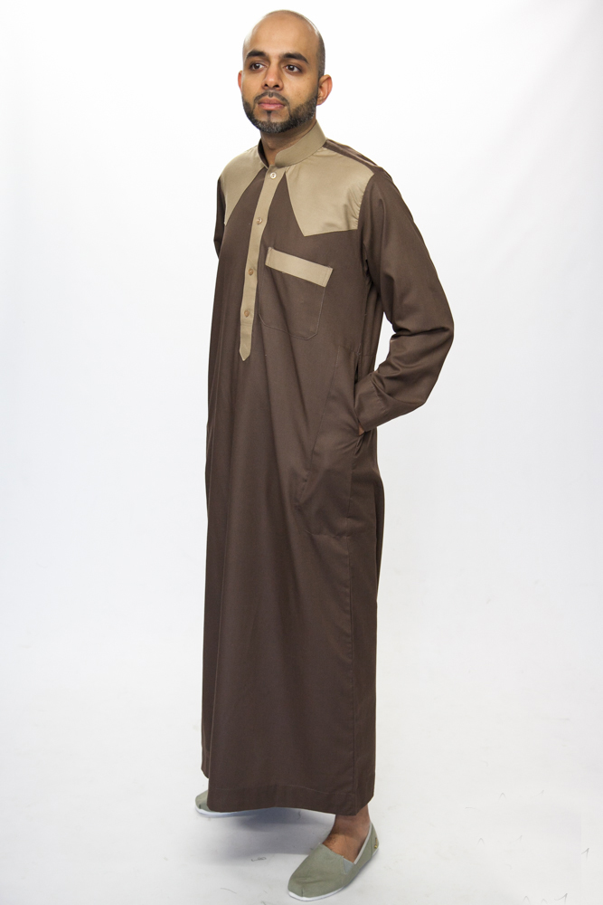 Kandura Brown Collar Jubba