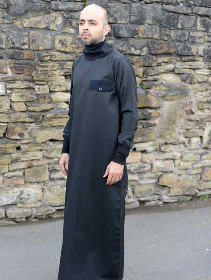 Polo neck jubbah black (just in)