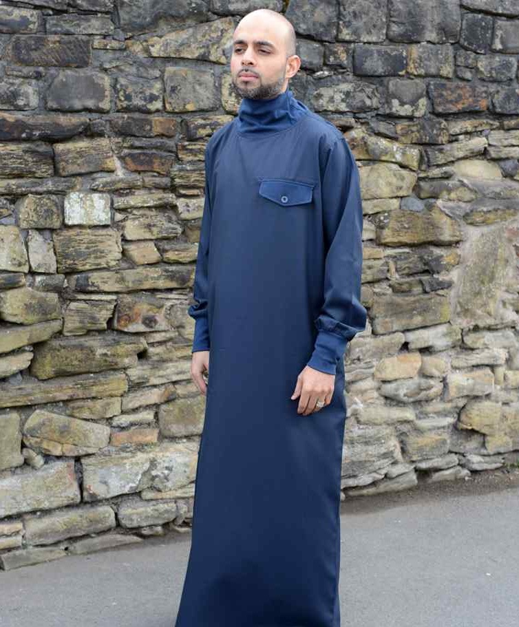 Polo neck Qamis blue (just in)