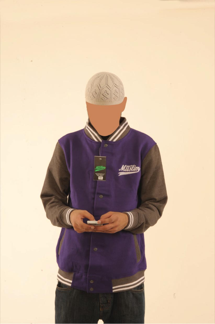 Purple ^ Dark Grey Baseball Jacket