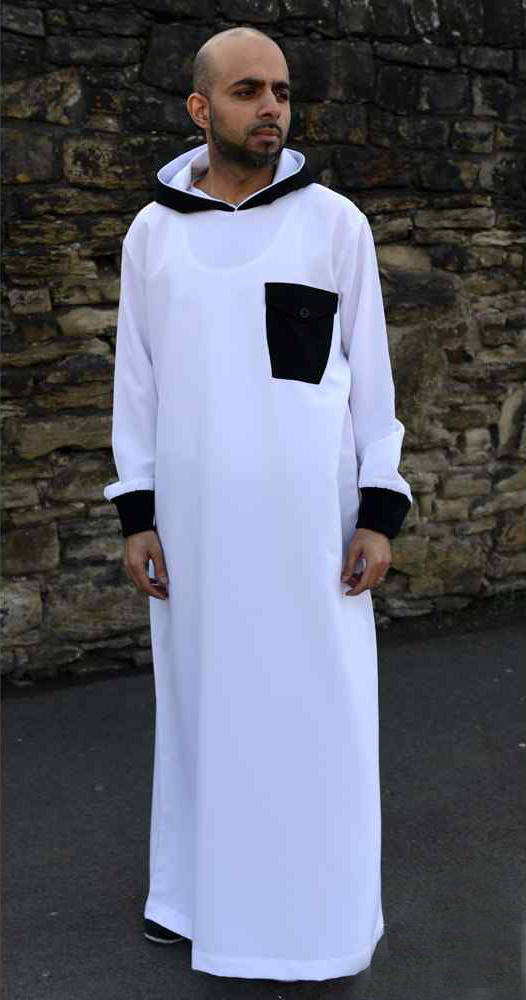 White Hooded Mens Jubba